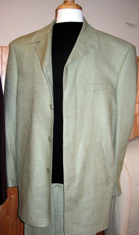 4 Hidden Button Linen Leisure Suit Sage, Baby Blue, Off-White LN404