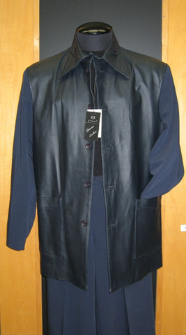 High Collar Leather Front Leisure Suit Navy LT-300