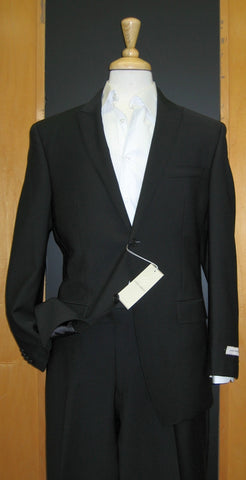 Joseph Abboud 2 Button Peak Lapel Solid Black Wool Suit