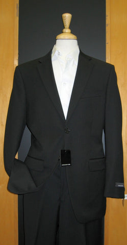 Jones New York 2 Button Black Herringbone Wool Suit