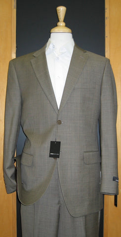 Jones New York 2 Button Brown Windowpane Flat Front Suit