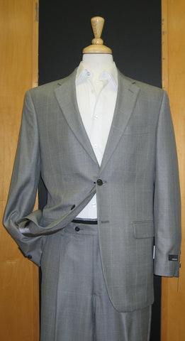 Jones New York 2 Button Center vented Grey Windowpane Wool and Silk Suit