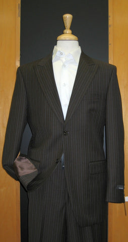 Jones New York 2 Button Peak Lapel Brown with Blue Pinstripe Flat Front Suit