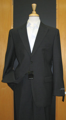 Jones New York 2 Button Peak Lapel Black Pinhead Wool Suit