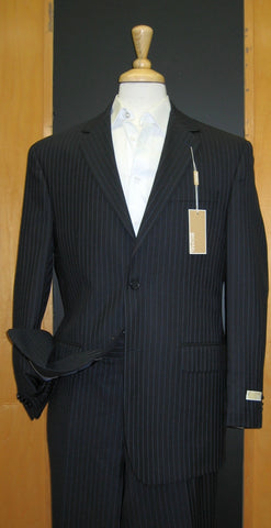 Michael Kors 2 Button Navy with Lavender Pinstripe Wool Suit