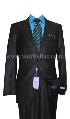 1 Button Peak Lapel Black Sharkskin Center Vented Wool and Silk Blend Flat Front Fitted Suit MOD3-6145