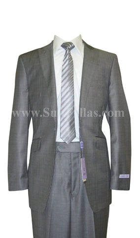 1 Button Peak Lapel Grey Sharkskin Center Vented Wool and Silk Blend Flat Front Fitted Suit MOD3-6145