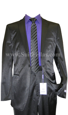1 Button Shiny Black Center Vented Cotton Blend Flat Front Fitted Suit CT1F-12014