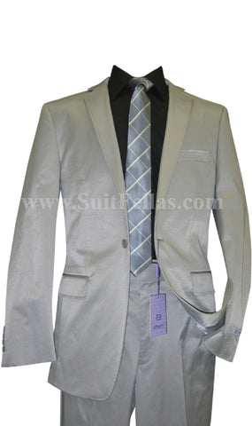 1 Button Shiny Grey Center Vented Cotton Blend Flat Front Fitted Suit CT1F-12014
