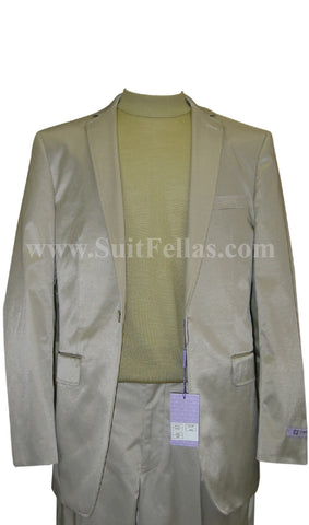 1 Button Shiny Sage Green Center Vented Cotton Blend Flat Front Fitted Suit CT1F-12014