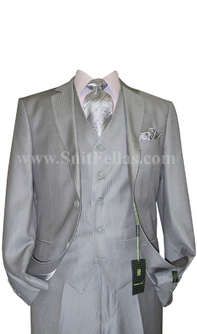 2 Button 3 Piece Grey Pinstripe Fitted Suit- GT2V-1933 Gry