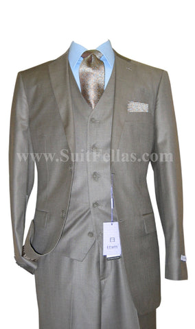 2 Button 3 Piece Sharkskin Beige Mocca Wool and Silk Blend Flat Front Suit WS2FV-580