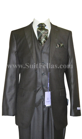2 Button 3 Piece Sharkskin Olive Wool and Silk Blend Flat Front Suit WS2FV-580