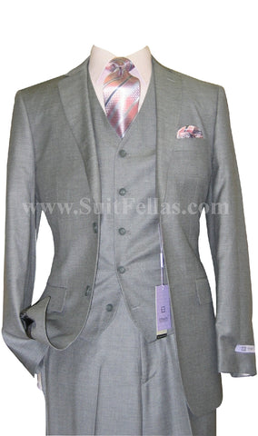 2 Button 3 Piece Pinstripe Wool Blend Tapered Cut Flat Front Suit WT2FV-3980