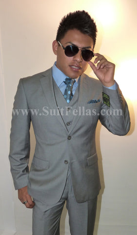 2 Button 3 Piece Light Grey Tone on Tone Slim Fit Suit GTS2V-3026