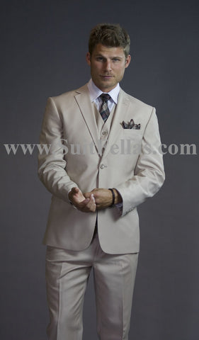 2 Button 3 Piece Beige Tone on Tone Slim Fit Suit GTS2V-3026