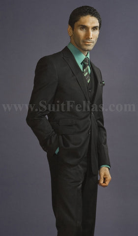 2 Button 3 Piece Peak Lapel Black Slim Fit Suit GTS2PV-045