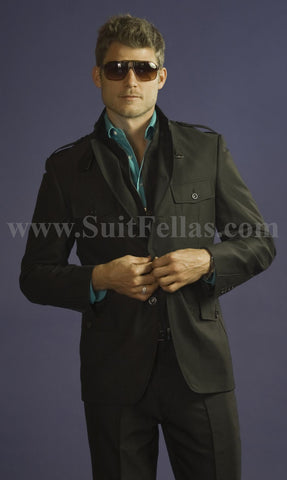 Giovanni Testi Black Semi Casual Suit with Patch Pockets COR-3064