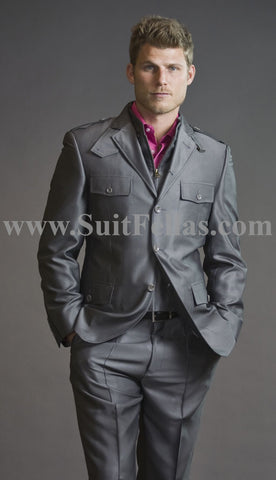 Giovanni Testi Grey Semi Casual Suit with Patch Pockets COR-3064