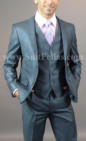 2 Button 3 Piece Slim Fit Charcoal Sharkskin Suit GTS2V-145