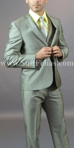2 Button 3 Piece Beige Pinhead Slim Fit Suit GTS2V-7062