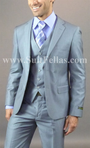 2 Button 3 piece Slim Fit Grey Tone on Tone Suit GTS2V-920