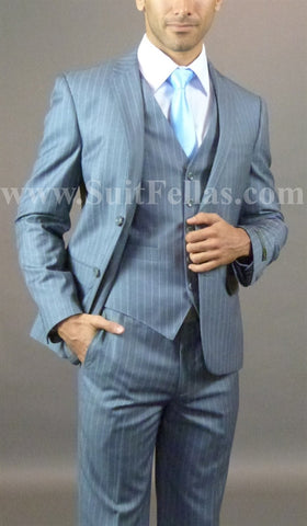 2 button 3 piece Slim Fit Grey Pinstripe suit GTS2V-013