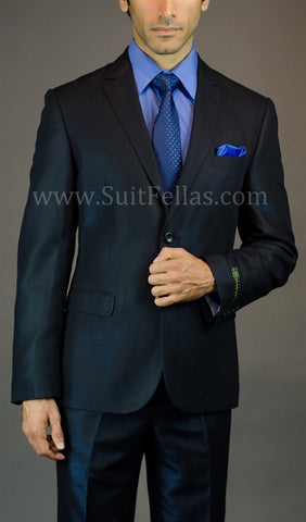 2 Button 3 Piece Blue Iridescent Slim Fit Suit GTS2V-7048