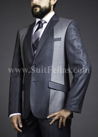 2 Button Peak Lapel Slim Fit Sharkskin 2 Tone Suit GT2SA-145