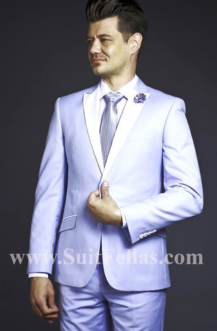 2 Button Blue Slim Fit  Suit  with White Peak Lapel GT2DG-4030