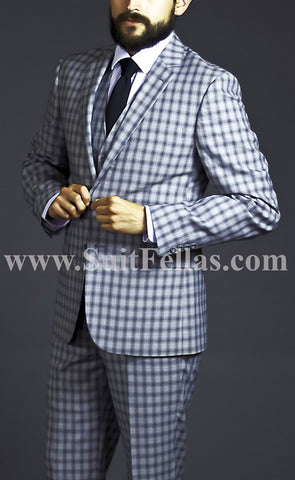 2 button 3 piece Black Windowpane suit GTS2V-8022