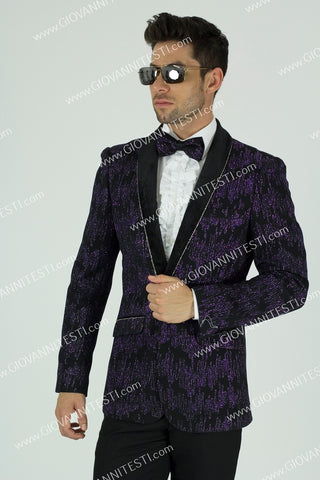 1 Button Glitter Embroidered Slim Fit Jacket GT1SSP-0562 Purple