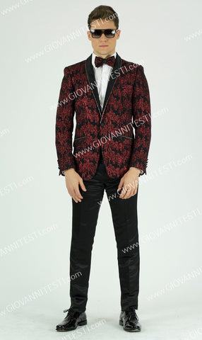 1 Button Glitter Embroidered Slim Fit Jacket GT1SSP-0562 Red