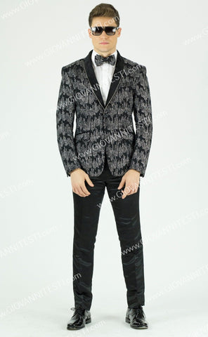 1 Button Glitter Embroidered Slim Fit Jacket GT1SSP-0562 Silver
