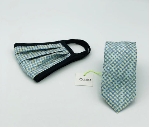 Face Mask & Tie Set S131-1 Blue/green gold