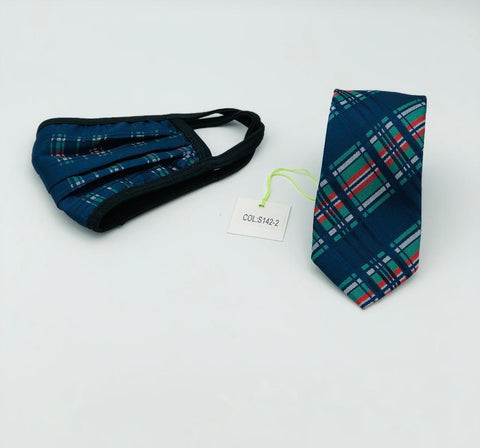 Face Mask & Tie Set S142-2 Navy / Green / Red Plaid