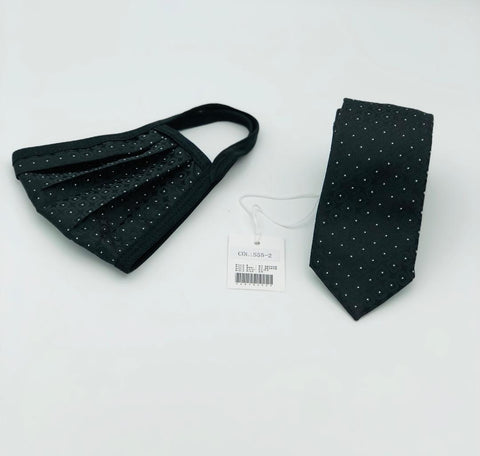 Face Mask & Tie Set S55-2 Black / White Dots
