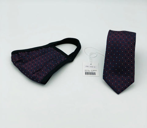 Face Mask & Tie Set S55-4 Burgundy /White Dots