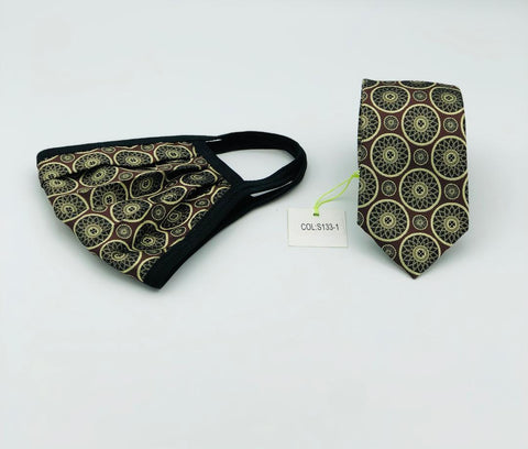 Face Mask & Tie Set S133-1 Brown/Gold Circles