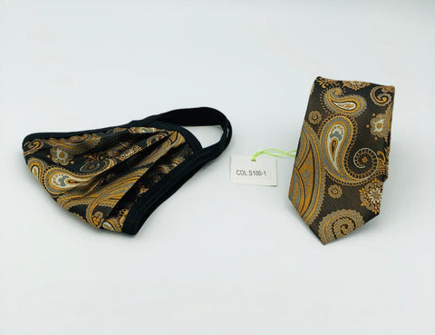 Face Mask & Tie Set S100-1 Brown Gold Paisley
