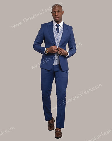 Giovanni Testi 2 Button Slim Fit Suit with Plaid Vest GT2DG+V-6817 Navy