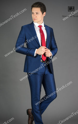 Giovanni Testi 2 Button Slim Fit  Suit with Peak Lapel GT2P-426 Blue