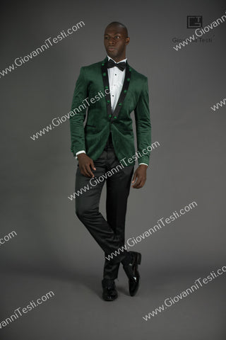 Giovanni Testi  Peak Lapel Slim Fit Green Velvet Jacket GTPI-2597