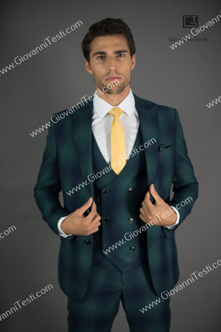 Giovanni Testi 2 Button Slim Fit  Suit with Peak Lapel GT2P+V-7090 Green