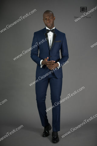 Effetti 1 Button 2 Piece Slim Fit Suit with Ribbed Notch Lapel EFT-180774 Navy