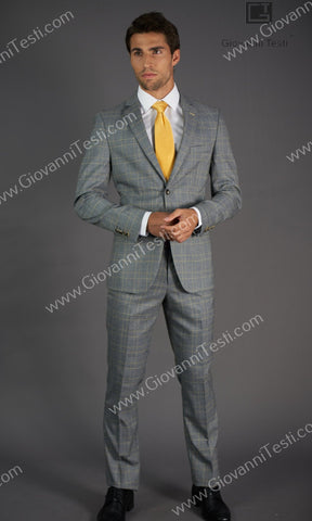 Giovanni Testi 2 Button Slim Fit  Suit with Notch Lapel GT2N-163