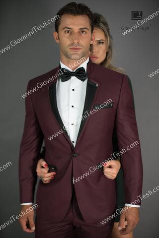Effetti 1 Button 2 Piece Slim Fit Suit with Ribbed Notch Lapel EFT-180774 Burgundy
