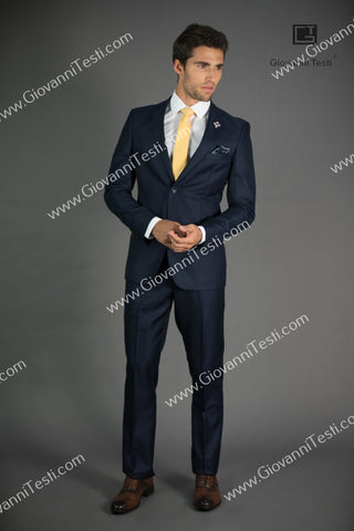 Giovanni Testi 2 Button Slim Fit Navy Suit with Notch Lapel GT2N-1831