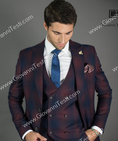 Giovanni Testi 2 Button Slim Fit  Suit with Peak Lapel GT2P+V-7090 Burgundy