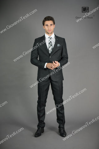 Giovanni Testi 2 Button Slim Fit Black Suit with Notch Lapel GT2N-1831